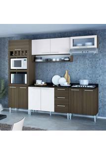 Cozinha Compacta Stella 10 Pt 3 Gv Castanho E Branca