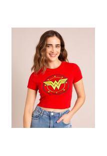 Camiseta Cropped Mulher Maravilha Manga Curta Decote Redondo Vermelha