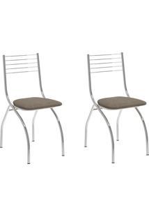 Kit 2 Cadeiras 146 Camurça Conhaque/Cromado - Carraro Móveis