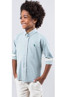 Camisa Mini Pf Regular Oxford Inv 17 Reserva Mini Verde - Kanui
