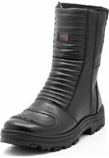 Bota Motoqueiro Cano Alto Em Couro Atron Shoes Preto