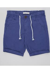 Bermuda De Sarja Infantil Com Bolsos Azul Escuro