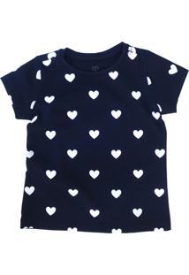 Camiseta Doll Up Coração Manga Curta Menina Preta