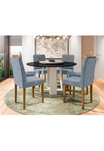 Conjunto De Mesa De Jantar Com Tampo Giratório E 6 Cadeiras Amanda Animalle Preto E Azul