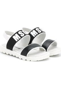 Msgm Kids Sandália Com Estampa De Logo - Branco