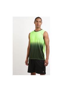 Regata Machão Masculina Esporte Ace Futebol Estampada Degradê Gola Careca Verde