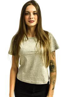 Camiseta Rich Young Baby Look Básica Lisa Malha Cinza Mescla