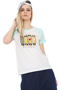 Camiseta Raglan Element As You Branca/Verde