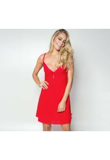 Camisola Click Chique Alça Sem Bojo Feminina - Feminino-Vermelho