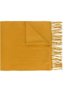 N.Peal Cachecol De Cashmere Com Franjas - Amarelo