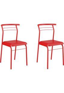 Kit 2 Cadeiras 1708 Vermelho Real - Carraro Móveis