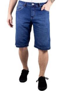 Bermuda Jeans Alfa Explore Bolso Antifurto - Masculino-Azul