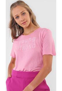 Camiseta Colcci Young And Strong Rosa - Rosa - Feminino - Viscose - Dafiti