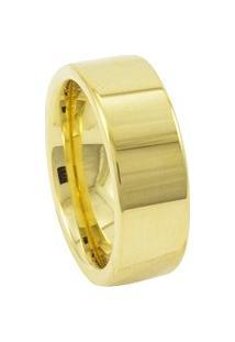 Aliança De Tungstênio New Tungsten 8Mm Reta Gold - Unissex-Dourado