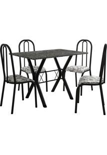 Conjunto De Mesa Miami 4 Cadeiras Preto Fosco/Branco Floral Fabone