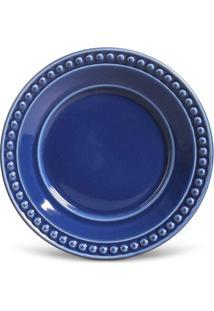 Prato Sobremesa Atenas Cerâmica 6 Peças Azul Navy Porto Brasil