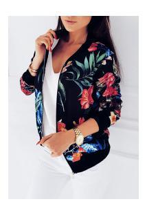 Jaqueta Bomber Floral Feminina - Preta