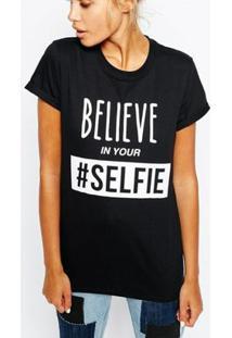 Camiseta Criativa Urbana Frases Engraçadas Selfie Nerd Geek - Feminino