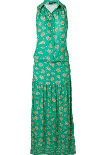 Vestido Longo Leeloo Flor - Verde