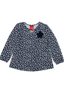 Camiseta Kyly Menina Floral Azul-Marinho