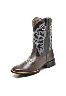 Bota Texana Fak Boots Cano Longo Bordado Café