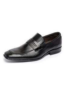 Sapato Social Masculino Ferrile Sport Elástico Em Couro Preto