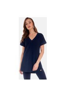 T-Shirt Alongada Riccieri Estampada Azul