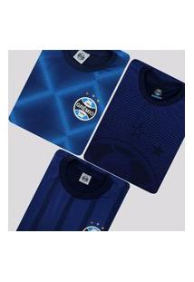 Kit De 3 Camisas Grêmio World Azul Marinho