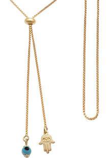Gargantilha Prata Mil Gravatinha C/ Mã£O De FatãMa E Olho Grego Dourado - Dourado - Feminino - Dafiti