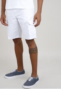 Bermuda De Sarja Masculina Cargo Branca