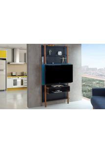 Painel De Tv Para Sala Preto Com Azul - Rack De Parede Para Tv Até 42 Polegadas Karl Woodinn - 99,8X25,5X180 Cm