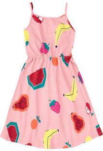 Vestido Curto Infantil Estampado Com Alças Finas Hering Kids