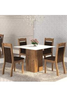 Mesa De Jantar 4 Lugares Brilho Dover/Chocolate/Branco - Mobilarte Móveis