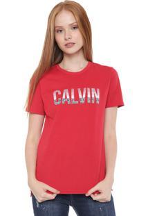 Camiseta Calvin Klein Jeans Stripes Vermelha