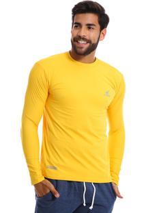 Camisa Uv Masculina Com Proteção Solar Fator 50 Amarela Multicolorido
