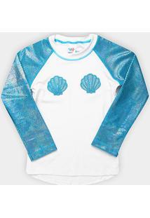 Camiseta Infantil Tip Top Moda Praia Sereia Fps+50 Feminina - Feminino-Azul Turquesa+Branco