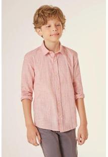 Camisa Pf Ml Flame Leva Reserva Mini Masculina - Masculino-Laranja