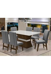 Conjunto De Mesa Para Sala De Jantar Com 6 Cadeira Monaco-Dobue - Castanho / Branco Off / Grafite
