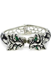 Bracelete Piuka Olhos De Esmeralda Semi Aberto Tigre - Feminino-Prata