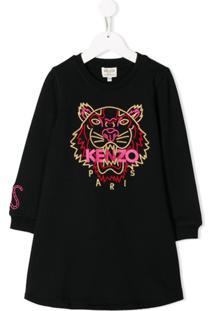 Kenzo Kids Vestido Com Tigre Bordado - Preto