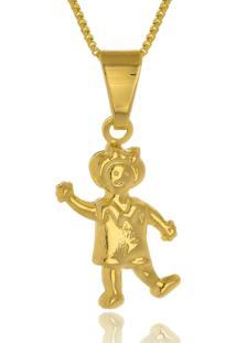 Colar Le Diamond Pingente Menina Dourado - Kanui