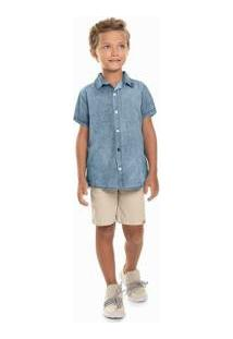Camisa Jeans Infantil Quimby Masculina - Masculino-Azul