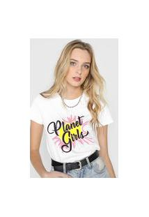 Camiseta Planet Girls Logo Glitter Branca
