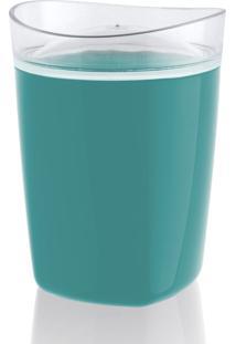 Porta Algodão Azul Turquesa E Transparente