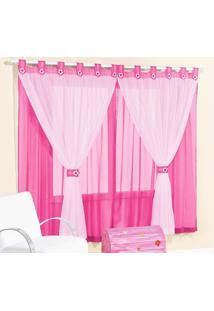 Cortina Juvenil Menina 2 Metros Pink E Rosa Presilha Flor Com 1 Peça - Kanui
