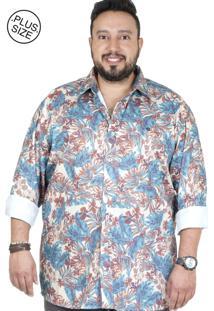 01f3f4b668b9 Camisa Plus Size Bigshirts Manga Longa Estamp Retro