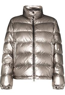 Moncler Quilted Metallic Down Jacket - Cinza