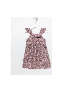 Vestido Infantil Estampa Animal Print - Tam 1 A 5 Anos   Póim (1 A 5 Anos)   Rosa   03
