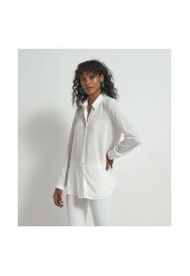 Camisa Manga Longa Texturizada Bordado Nas Costas Em Viscose   Marfinno   Branco   Gg