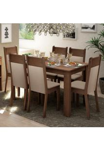 Conjunto Sala De Jantar Madesa Jaíne Mesa Tampo De Madeira Com 6 Cadeiras
